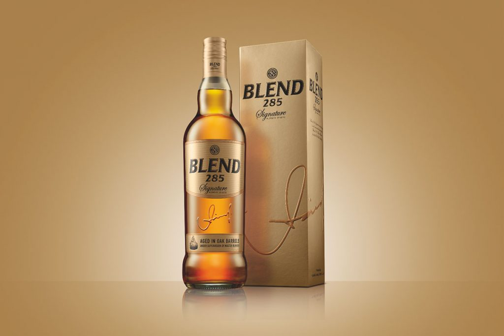 Blend 285 Signature Whisky Bottle and Gold Box